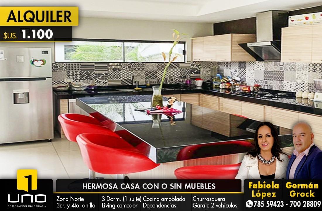 Casa en Alquiler ZONA NORTE, ENTRE 3ER Y 4TO ANILLO Foto 1