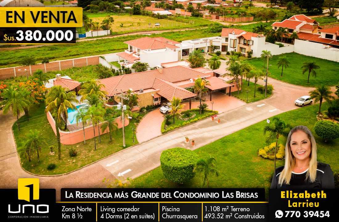 Casa en Venta LA RESIDENCIA MÁS GRANDE DEL CONDOMINIO LAS BRISAS ZONA NORTE  KM 8 Foto 1