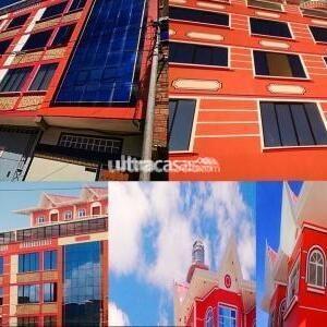 Casa en Venta en El Alto Cuidad Satélite VENDO EDIFICIO NUEVO EN EL ALTO CON FINANCIAMIENTO REF 69841934   SIN INTERMEDIARIOS ESCUCHAMOS OFERTAS SERIAS ENTREGA INMEDIATALA CASA TIENE CASTRO PLANOS IMPUESTOS AL DIA SE ENCUENTRA UBICADA CERCA A ALA ADUNA CENTRAL Y AEROPUERTO 6MINUTOS CEJA CRUCE VIACHA A MEDIA CUADRA INICIO JULIO CESAR VALDES CONSTA DE DEPARTAMENTO OFICINAS TIENDAS DEPOSITOS CONEXIÓN TRIFASICA PARA MAQUINARIA INDUSTRIAL ESPACIO PARA FABRICA Y UN PHENTHOSE PRIMER PISO 15 metros de frontis ingreso independiente para departamentos y oficinas garaje eléctrico para 6 vehículos 2 tiendas con sus baños 2depositos cerrados un departamento de 2 dormitorios al fondo una lavandería independiente. SEGUNDO PISO OFICINA EN 200M2 CON PERSIANAS  LAMPARAS, PLAFONES CONEXIÓN PARA 2 LINEAS TELEFONICAS Y PORTEROS ELECTRICOS HAY 3 oficinas ejecutivas cerradas lo demás es divido con vidrios para demás personal tiene área de recepción sala de visitas un deposito cocina con cajonería y mesones y su comedor amplio, baño. TERCER PISO HAY 2 DEPARTAMENTOS CADA UNO DE 2 DORMITORIOS Departamento A,  consta de 2dormitorios baño con tina, sala comedor, dependencia de servicio con baño y ducha, cocina con mesones lavandería independiente, Departamento B.-  consta de 2dormitorios, baño con su tina, sala comedor, baño de visitas, lavandería independiente cocina con mesones. Todos los ambientes son muy soleados tienen bonita vista acabados de lujo piso térmico flotante en áreas de pasillos gradas y baños y cocinas son cerámica además tiene conexión para agua caliente ya sea a gas o eléctrico cuenta con porteros eléctricos CUARTO PISO HAY 2 DEPARTAMENTOS CADA UNO DE 2 DORMITORIOS Departamento A, consta de 2dormitorios baño con tina, sala comedor, dependencia de servicio con baño y ducha, cocina con mesones lavandería independiente, Departamento B, consta de 2dormitorios, baño con su tina, sala comedor, baño de visitas, lavandería independiente cocina con mesones. Todos los ambientes son m