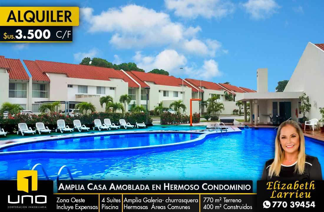 Casa en Alquiler LINDA Y AMPLIA CASA AMOBLADA EN CONDOMINIO PRIVADO ZONA OESTE 6TO ANILLO Foto 1