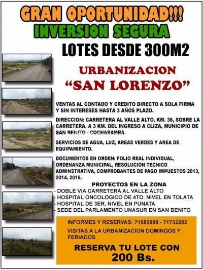 Terreno en Venta en Cochabamba Sudoeste
