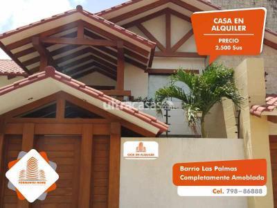 Casa en Alquiler en Santa Cruz de la Sierra 3er Anillo Oeste  Barrio Las Palmas:[ALQUILER] Hermosa Casa  con ambientes amplios y confortables,
