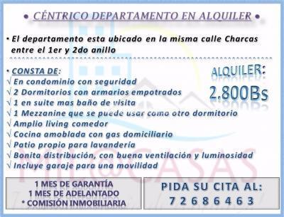 Departamento en Alquiler en Santa Cruz de la Sierra 2do Anillo Este C/Charcas
