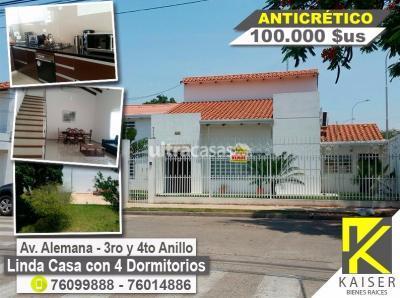 Casa en Alquiler en Santa Cruz de la Sierra 2do Anillo Norte ALEMANA ENTRE 2DO Y 3ER aNILLO
