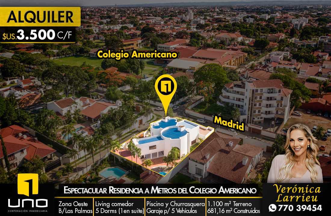 Casa en Alquiler HERMOSA RESIDENCIA EN LA MEJOR ZONA DEL BARRIO LAS PALMAS Foto 1