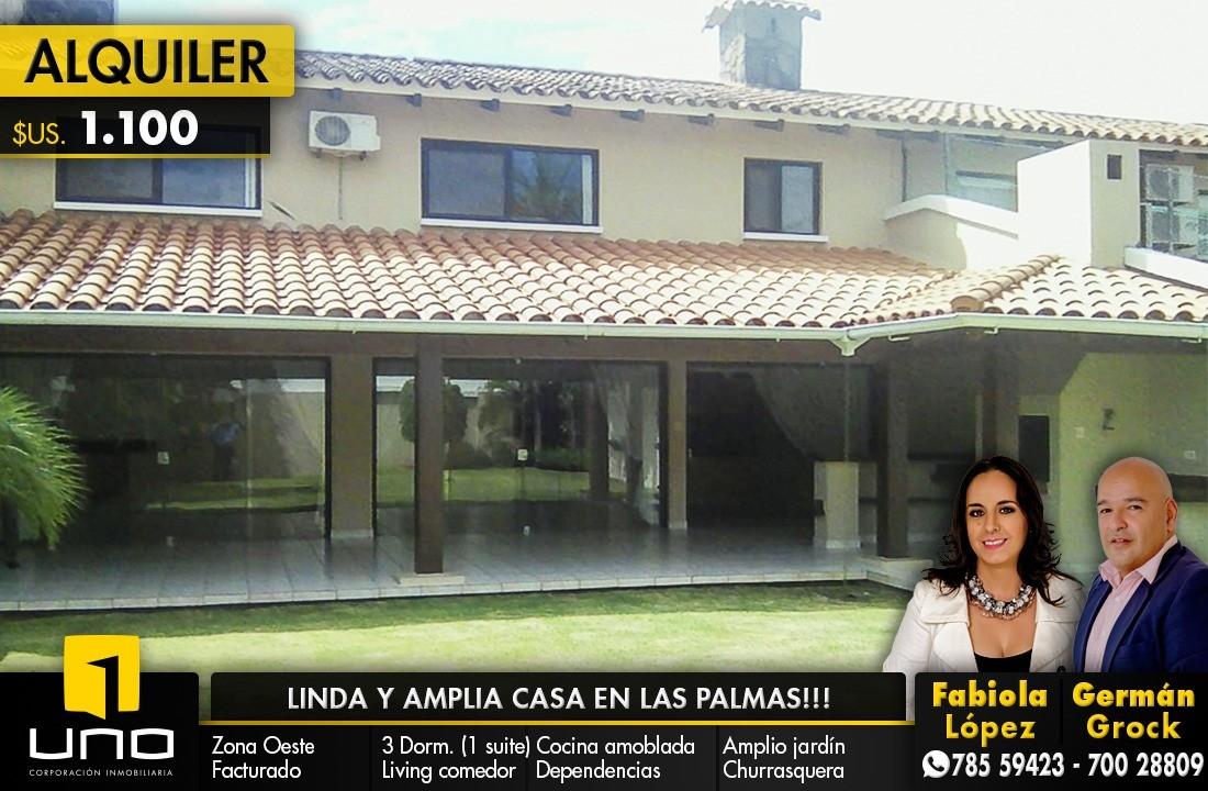 Casa en Alquiler Barrio Las Palmas; Zona Oeste Foto 1