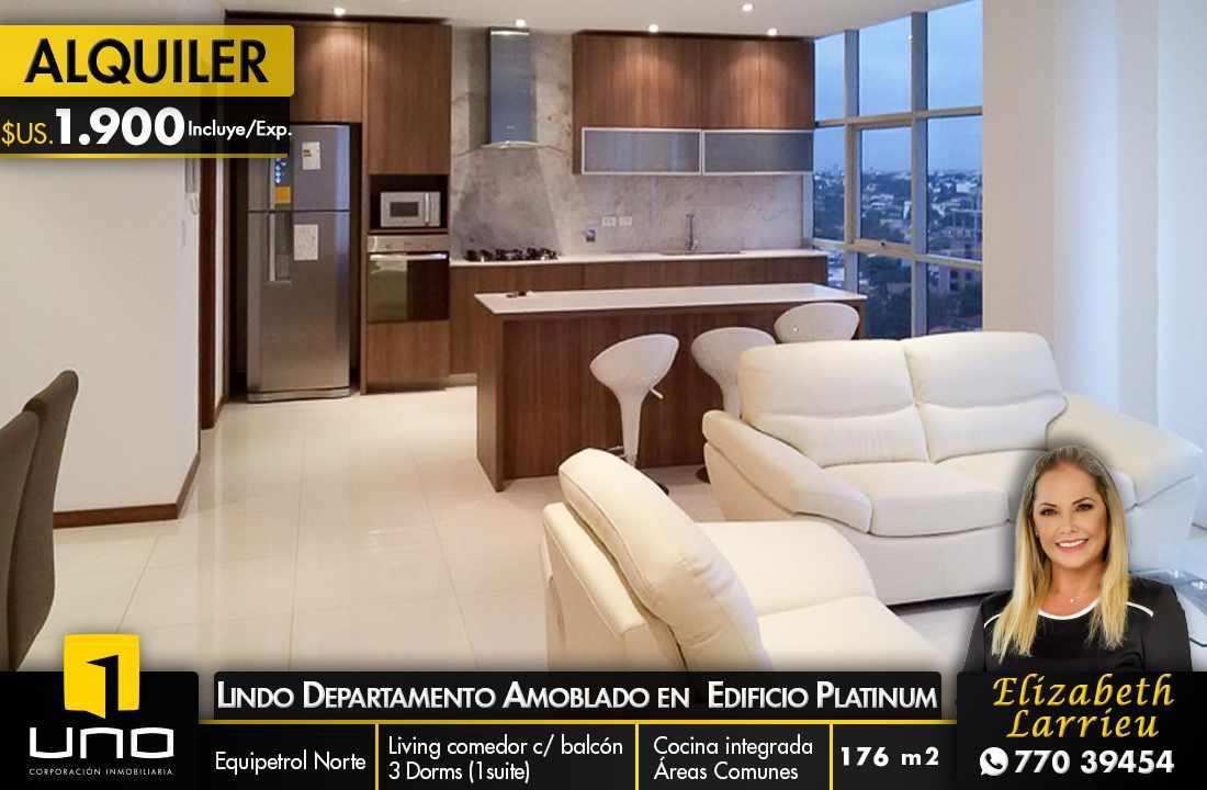 Departamento en Alquiler HERMOSO Y AMPLIO DEPARTAMENTO TOTALMENTE EQUIPADO EN EDIFICIO PLATINUM Foto 1