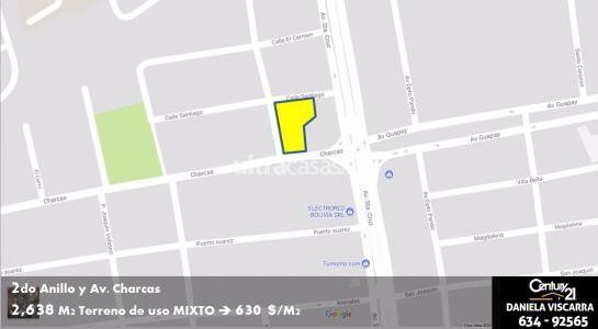 Terreno en Venta Calle Charcas casi 2do Anillo Foto 3