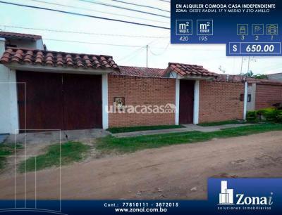 Casa en Alquiler en Santa Cruz de la Sierra 5to Anillo Oeste Zona Oeste Radial 17 y medio y 5to Anillo
