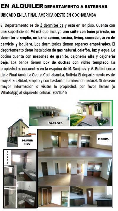 Departamento en Alquiler en Cochabamba Sarco Esquina de M. Sanjinez y V. Bellini