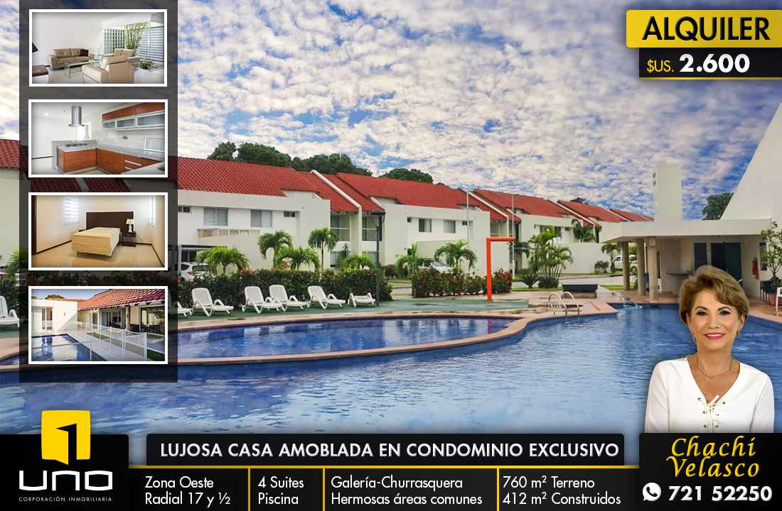 Casa en Alquiler LUJOSA CASA CON PISCINA EN HERMOSO CONDOMINIO ZONA OESTE RADIAL 17 1/2  Foto 1