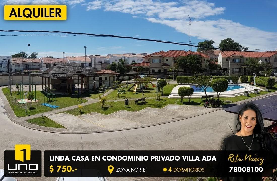 Casa en Alquiler Condominio Villa Ada, Zona El Remanso Foto 1