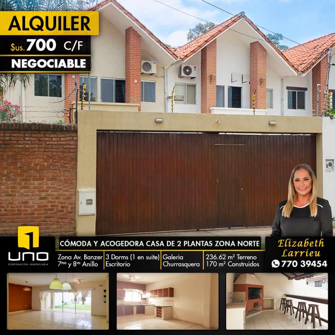 Casa en Alquiler CÓMODA Y ACOGEDORA CASA INDEPENDIENTE DE 2 PLANTAS ZONA NORTE (AV. BANZER) ENTRE 7MO Y 8VO ANILLO Foto 1