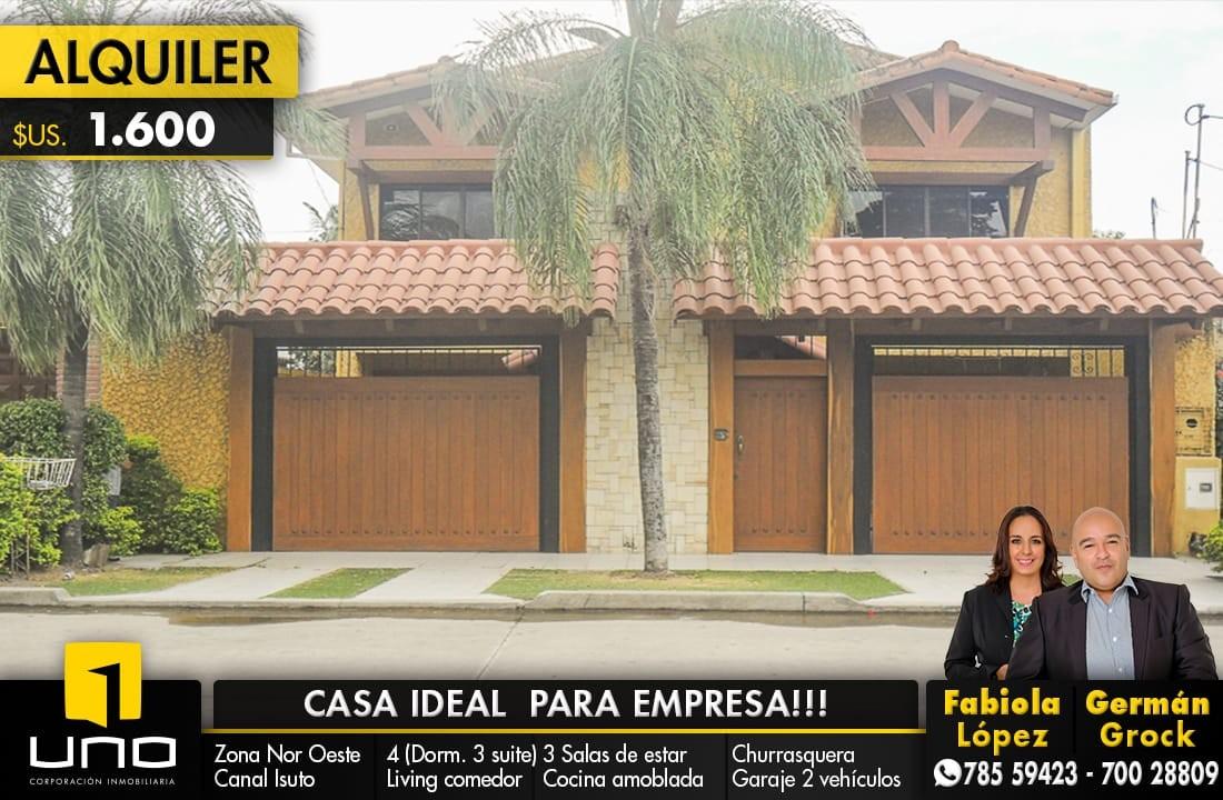 Casa en Alquiler ZONA NORTE, 4TO ANILLO Y CANAL ISUTO IDEAL PARA VIVENDA O EMPRESA Foto 1