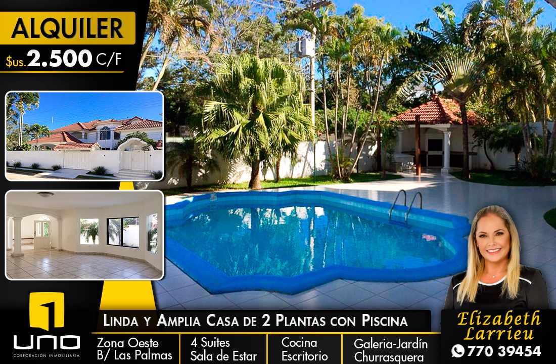 Casa en Alquiler LINDA Y AMPLIA CASA DE 2 PLANTAS CON PISCINA EN EL BARRIO LAS PALMAS Foto 1
