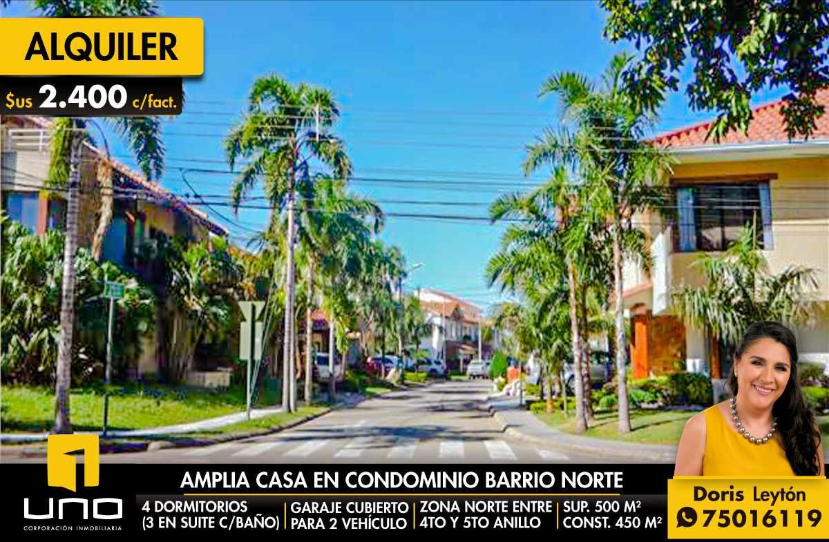 Casa en Alquiler CONDOMINIO BARRIO NORTE AMPLIA CASA EN ALQUILER Foto 1