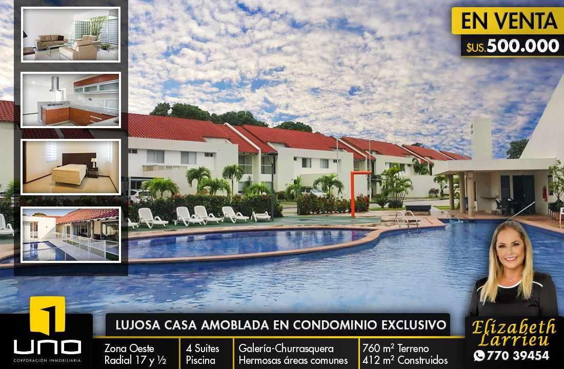 Casa en Venta LINDA Y AMPLIA CASA AMOBLADA EN CONDOMINIO PRIVADO ZONA OESTE 6TO ANILLO Foto 1